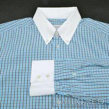 ERMENEGILDO ZEGNA Blue Plaid Check 100% Cotton Mens Luxury Dress Shirt - 17