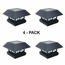 Outdoor Garden Fence LED Solar Post Cap Deck Light Fixture Lamp 4 Lights Pack