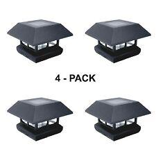 Outdoor Garden Fence LED Solar Post Cap Deck Light Fixture Lamp 4 Lights Pack