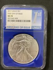2017 American SILVER EAGLE First Day Of Issue NGC MS 70 $1 Coin Blue Slab #439
