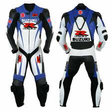Customized New Motorbike Suzuki Suit Biker Motorcycle Leather MotoGP 1 & 2 PC
