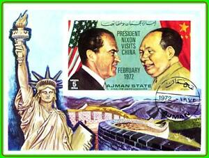 AJMAN (UAE) 1972 Pres.Richard Nixon Visits China PRC S/S imperforated GREAT WALL