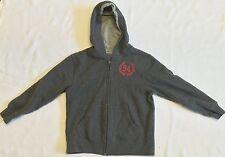 Old Navy Heather Grey Zip Front Hooded Sweatshirt w/ Red Graphics Sz S (6/7)