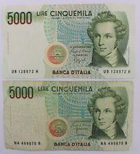 2x 5000 liras cinquemila Italy billetes 1985 buen estado good condition Bill