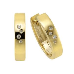 Creole Ohrring Gold Orolino Creolen 585/- Gold Brillant weiß Natürlich 1,4cm