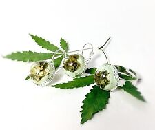 Marijuana, Cannabis Bud Jewelry Set Earrings & Ring New Handmade In USA 🇺🇸