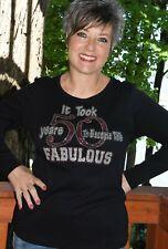 50th birthday Rhinestone glitter shirt  S M L XL XXL1X 2X 3X 4X 5X pink silver