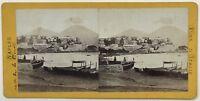 Italia Napoli Barche Pesca Foto Vintage Stereo Albumina c1865