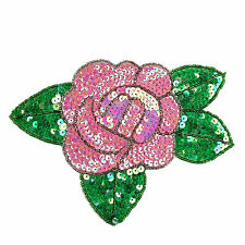 Lily Red Pink Purple Orange Yellow Rose Beaded Sequins Sew On Patch Applique