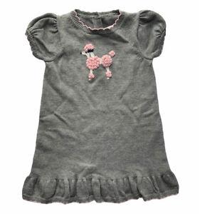 Janie and Jack Girls Grey Sweater Dress Short Sleeve Pink Poodle Cotton Knit EUC