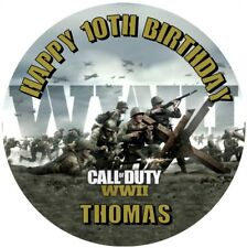 """Call of Duty WWII  WORLD WAR 2 personalised icing sheet cake topper 7.5"""" Round"""