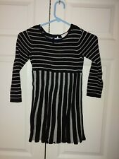 Girls Hanna Andersson Black Shadow Striped Holiday Sweater Dress Size 110 5