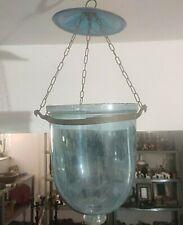 Old Vintage Antique Lantern Hundi  Hanging Lamps Blue Glass Hanging Light  L2