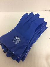 "Six Pair: Blue 12"" Long Cotton Lined PVC Gloves, Size Large (9)"
