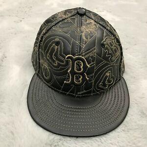 New Era 59Fifty Boston Red Sox Leather Baseball Hat Size 7 1/4 Black Rare New