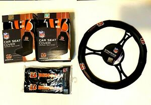 Cincinnati Bengals Front Seat Covers Steering Wheel Cover & Seat Belt Pads NFL