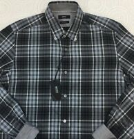 HUGO BOSS Men's L/S Shirt Medium M Reg Fit Black White Plaid NWT $145 New NICE