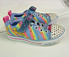 SKECHERS Twinkle Toes Girls Tennis Shoes Size 11 Embellished Rainbow Colors EUC