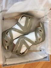 07c7773bd164 Jimmy Choo Lame Glitter Light Bronze Sandals Size 39 1 2
