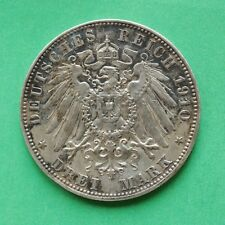 1910E Germany Silver 3 Mark coin Muldenhutton Mint SNo51786