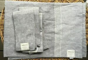New Southern Living 100% Linen set of 4 Placemats and 4 Napkins Gray