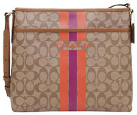 NWT $225 Coach Varsity Stripe File Bag Signature Crossbody Shoulder Purse NEW