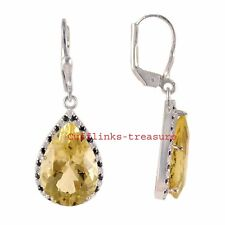 Natural Citrine & CZ Gemstones With 925 Sterling Silver Earrings