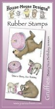 HOUSE MOUSE DESIGNS GRUFFIES Unmounted Rubber Stamps BEARY NICE BIRTHDAY JSHM054