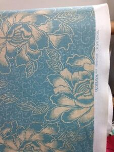 "Waverly ""boho batik"" aqua cream print fabric by the yard hawaiiana"