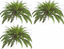 "3 BOSTON FERN 48"" SPREAD X 90 LEAF BUSH PLANT ARTIFICIAL TREE FLOWER SILK PALM"