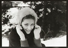 FOTO ORIGINALE GIGANTE ANNA IDENTICI SULLA NEVE ANNI '60 CARTA LUCIDA CM 21X30