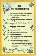 The Ten Commandments Postcard - Curt Teich Chicago IL