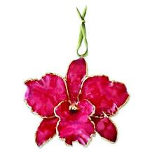 Flowers & Leaves Lacquer Dipped Genuine Red Cattleya Orchid Hanging Ornament