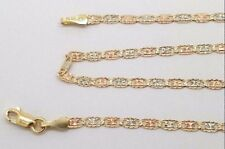 "Tri Color 14k Gold Diamond Cut Star Valentino Chain Necklace 24"" 2 MM Women/Kids"