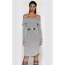 Runaway Off the Hook Gray Knit Bodycon Off the Shoulder Large Dress NEW Midi