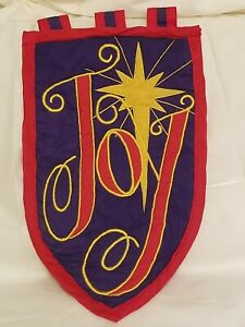 """Joy"" Embroidered Wall Hanging Holiday Christmas North Star"