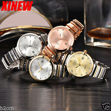 New Women Bracelet Watch Analog Crystal Stainless Steel Quartz Date Wrist Watch