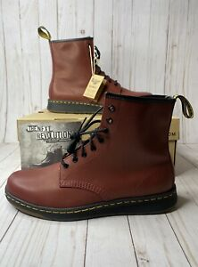 Dr. Martens Newton Cherry Red Temperley Leather Combat Boots Mens Size 11