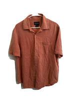 Nat Nast Mens Red Button Front Shirt Size Medium 100% Silk Short Sleeve (E)