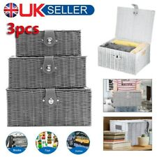 Set of 3 Resin Woven Wicker Xmas Hamper Basket Storage Box With Lid&Lock Gift UK