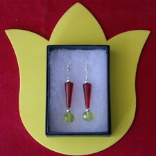 BEAUTIFUL EARRINGS WITH CARNELIAN & FACETED PERIDOT 6.1 GR. 4.3 CM. LONG + HOO
