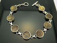"Vintage Sterling Bronze Tibetan Buddhist Auspicious Symbols Bracelet Size 7.5"""