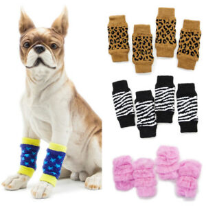 2Pair Pet Dog Cat Knitted Non-slip Socks Puppy Knit Warm Bottom Shoes Slippers
