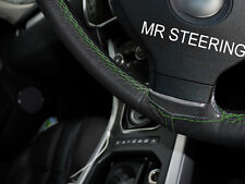 FOR VOLVO S40 V50 2004-12 BLACK LEATHER STEERING WHEEL COVER GREEN DOUBLE STITCH