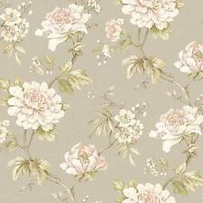 Wallpaper Large Cream White Pink Floral on Green Leaf Vine on Taupe Faux