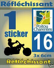 1 Sticker REFLECHISSANT département 16 rétro-réfléchissant immatriculation MOTO