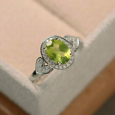 1.65 Ct Oval Cut Natural Diamond Peridot Wedding Ring 14K White Gold Size N O P