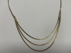 """9ct Yellow Gold Three String Box Chain Necklace 16"""" Long 7.25g"""