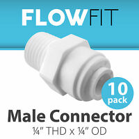 "Male Connector 1/4"" Quick Connect Parts for Water Filters / RO Systems - 10 Pack"