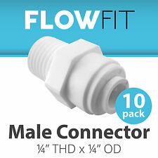"""Male Connector 1/4"""" Quick Connect Parts for Water Filters / RO Systems - 10 Pack"""